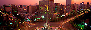 MEXICO, MEXICO CITY, CITYSCAPES Independence 'Angel' Monument, symbol of Mexico City; 118' tall; on Paseo de la Reforma at Florencia at dusk