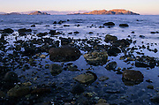 Evening light on offshore islands at low tide, Bahia de los Angeles, Baja California, Mexico