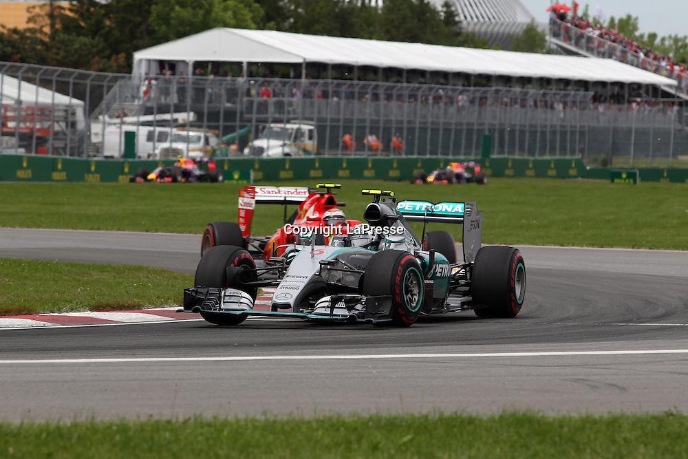 &copy; Photo4 / LaPresse<br /> 07/06/2015 Montreal, Canada<br /> Sport <br /> Grand Prix Formula One Canada 2015<br /> In the pic: Nico Rosberg (GER) Mercedes AMG F1 W06 and Kimi Raikkonen (FIN) Scuderia Ferrari SF15-T