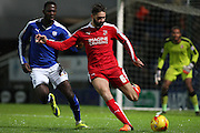 Swindon Town defender Jordan Turnbull clears the ball from danger during the Sky Bet League 1 match between Chesterfield and Swindon Town at the Proact stadium, Chesterfield, England on 28 November 2015. Photo by Aaron Lupton.