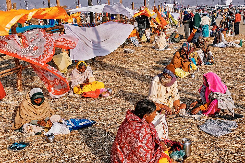 Gathering of people near the Triveni Sangam, where three rivers (Ganga, Yamuna and Saraswati) merge into one, on one of the main bathing dates (Paush Purnima) during the Kumbh Mela in Allahabad, Uttar Pradesh.