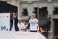 Sergio Ramos, Cristiano Ronaldo and Keylor Navas during the celebration of the victory of the Real Madrid Champions League at Plaza de Cibeles in Madrid. May 28. 2016. (ALTERPHOTOS/Borja B.Hojas)