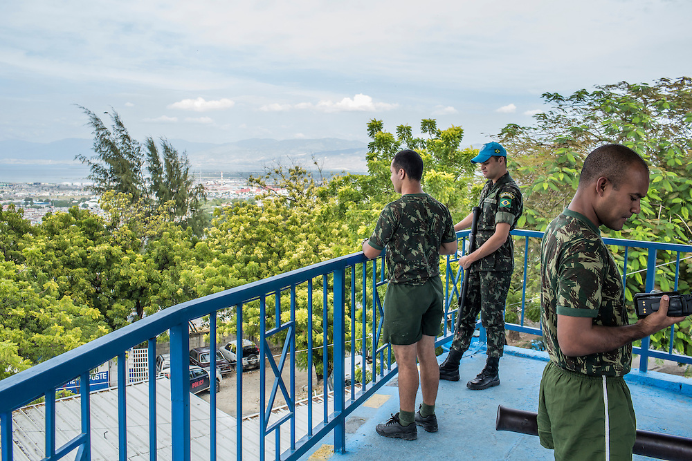 UN peacekeeping troops, operating under the auspices of MINUSTAH, at their base in Fort National on Tuesday, December 16, 2014 in Port-au-Prince, Haiti. The UN has a controversial record in Haiti, and is extremely unpopular.
