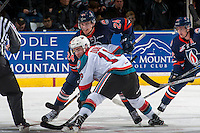 KELOWNA, CANADA - JANUARY 7: Luc Smith #24 of the Kamloops Blazers faces off against Dillon Dube #19 of the Kelowna Rockets on January 7, 2017 at Prospera Place in Kelowna, British Columbia, Canada.  (Photo by Marissa Baecker/Shoot the Breeze)  *** Local Caption ***