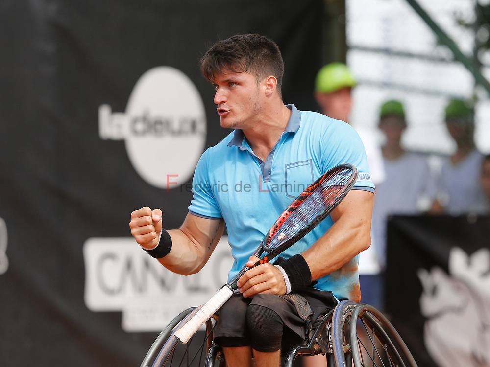 20170730 - Namur, Belgium : Gustavo Fernandez (ARG) reacts after scoring a point during his finale against Nicolas Peifer (FRA) at the 30th Belgian Open Wheelchair tennis tournament on 30/07/2017 in Namur (TC Géronsart). © Frédéric de Laminne