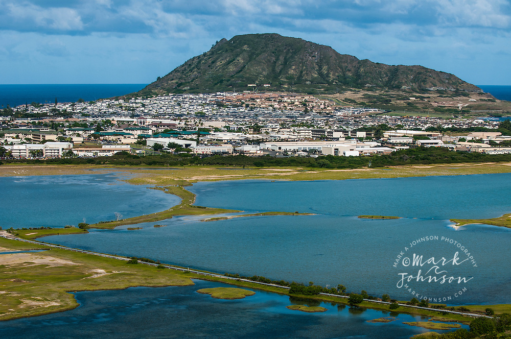 Kaneohe Marine Base Hawaii, Bird refuge in foreground, Kaneohe Bay, Oahu, Hawaii