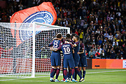 Edinson Roberto Paulo Cavani Gomez (psg) (El Matador) (El Botija) (Florestan) scored it penalty and celebrated it with Layvin Kurzawa (psg), Adrien Rabiot (psg), Javier Matias Pastore (psg), Neymar da Silva Santos Junior - Neymar Jr (PSG), Thiago Silva (PSG) during the French championship L1 football match between Paris Saint-Germain (PSG) and Toulouse Football Club, on August 20, 2017, at Parc des Princes, in Paris, France - Photo Stephane Allaman / ProSportsImages / DPPI