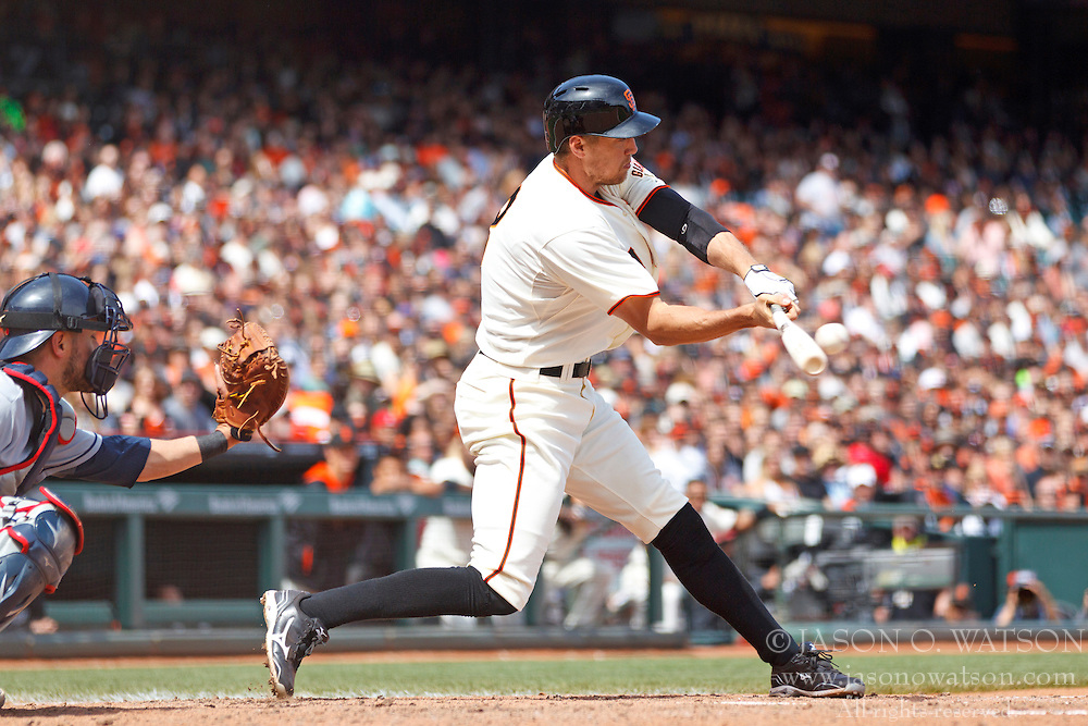 SAN FRANCISCO, CA - APRIL 26:  Hunter Pence #8 of the San Francisco Giants hits a two RBI single against the Cleveland Indians during the fifth inning at AT&T Park on April 26, 2014 in San Francisco, California. (Photo by Jason O. Watson/Getty Images) *** Local Caption *** Hunter Pence