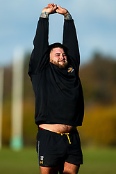 Kieran Brookes of Wasps during training ahead of the European Challenge Cup fixture against SU Agen - Mandatory by-line: Robbie Stephenson/JMP - 18/11/2019 - RUGBY - Broadstreet Rugby Football Club - Coventry , Warwickshire - Wasps Training Session