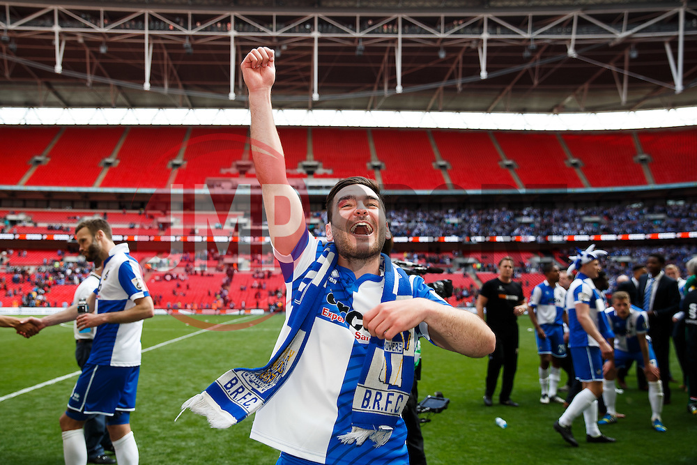 Jake Gosling celebrates after Bristol Rovers win the match on penalties  to secure promotion to the Football League 2 - Photo mandatory by-line: Rogan Thomson/JMP - 07966 386802 - 17/05/2015 - SPORT - FOOTBALL - London, England - Wembley Stadium - Bristol Rovers v Frimsby Town - Vanarama Conference Premier Play-off Final.