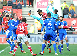 Bartosz Bialkowski of Ipswich Town saves a header from Eros Pisano of Bristol City - Mandatory by-line: Nizaam Jones/JMP - 17/03/2018 - FOOTBALL - Ashton Gate Stadium- Bristol, England - Bristol City v Ipswich Town - Sky Bet Championship