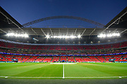 General View in side Wembley Stadium under the floodlights before the Champions League match between Tottenham Hotspur and Barcelona at Wembley Stadium, London, England on 3 October 2018.