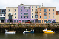 Modern apartment block at St Andrews harbour in Fife, Scotland, UK