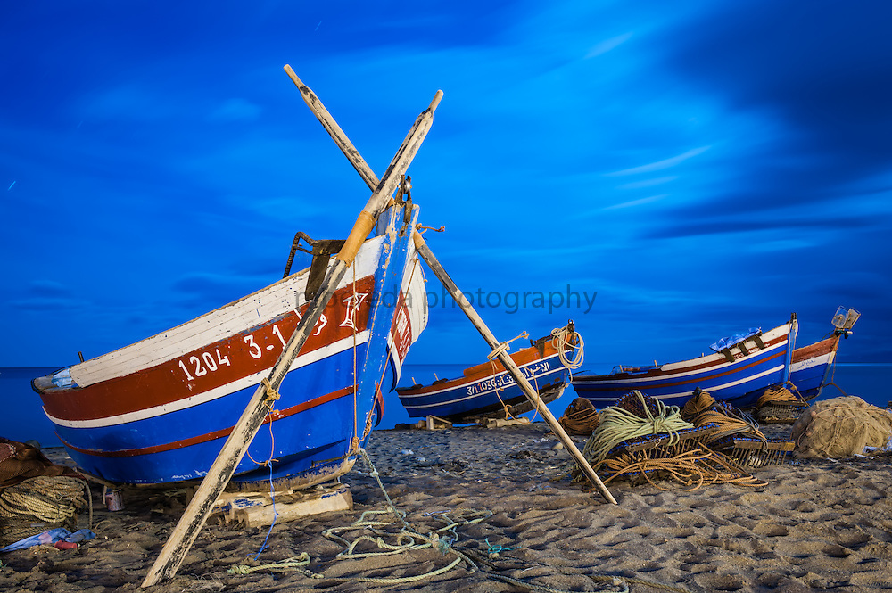 Fisherman boats at night in Oued Laou.