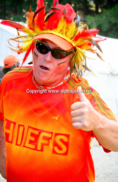 Chief's fan during the preseason Super Rugby match between the Hurricanes and the Chiefs, Mangatainoka Rugby Football Club, Mangatainoka,  New Zealand. Saturday, 16 February, 2013. Photo: Bethelle McFedries / photosport.co.nz