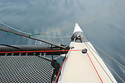 Sailing onboard Blast, a Gunboat 48, during Race 1 of Antigua Sailing Week.