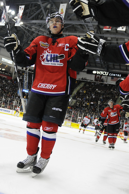 Taylor Hall of the Windsor Spitfires celebrates a Team Cherry goal in the Home Hardware CHL-NHL Top Prospects Game in Windsor on Wednesday. Photo by Aaron Bell/CHL