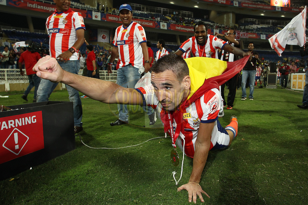 Borja Fernandez of Atletico de Kolkata celebrates after Atletico de Kolkata beat Kerala Blasters FC to become ISL Champions during the final of the Hero Indian Super League between Kerala Blasters FC and Atletico de Kolkata held at the D.Y. Patil Stadium, Navi Mumbai, India on the 2oth December 2014.<br /> <br /> Photo by:  Shaun Roy / ISL/ SPORTZPICS