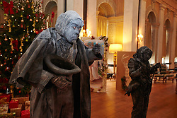 © Licensed to London News Pictures.  09/11/2013. WOODSTOCK, UK. Living statues Scrooge (L) and Marley (R)inspired by the classic story A Christmas Carol at Blenheim Palace during their Dickensian Christmas. The themed event opened to the public today (Sat 9th Nov) and runs until the 13th December.  Photo credit: Cliff Hide/LNP
