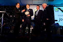 Joe Simmonds receives his SW COMMS Young Player Of The Season from Brian Lodge and Tony Rowe OBE during the dinner - Ryan Hiscott/JMP - 16/05/2019 - SPORT - Sandy Park - Exeter, England - Exeter Chiefs End of Season Awards