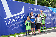 Leaders advert with Forest Green Rovers Shamir Mullings(14) during the Forest Green Rovers Photocall at the New Lawn, Forest Green, United Kingdom on 31 July 2017. Photo by Shane Healey.