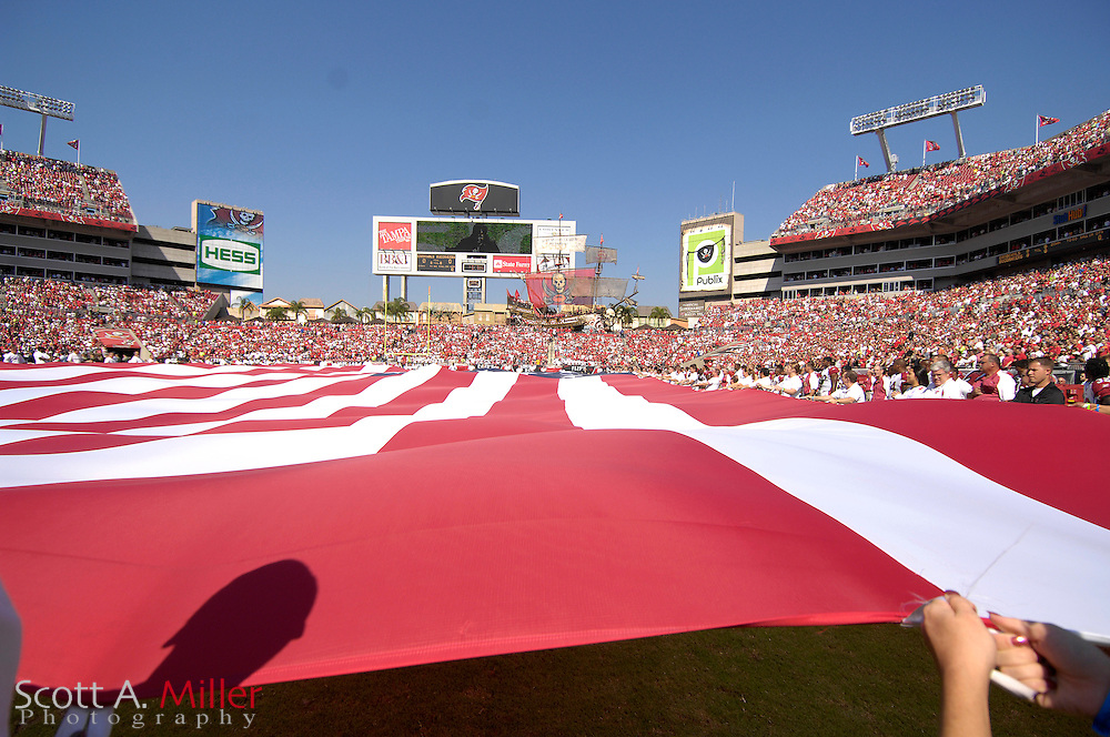 Nov. 4, 2007; Tampa, FL, USA;  The United States flag is displayed prior to the Arizona Cardinals versus Tampa Bay Buccaneers at Raymond James Stadium. ...©2007 Scott A. Miller