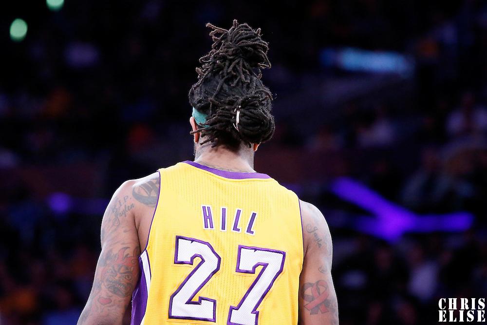 04 April 2014: Los Angeles Lakers forward Jordan Hill (27) is seen during the Dallas Mavericks 107-95 victory over the Los Angeles Lakers at the Staples Center, Los Angeles, California, USA.
