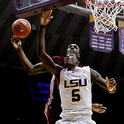 Jan 5, 2013; Baton Rouge, LA, USA; Bethune-Cookman Wildcats forward Alex Smith (2) blocks a shot by LSU Tigers forward Shavon Coleman (5) during the second half of a game at the Pete Maravich Assembly Center. LSU defeated Bethune-Cookman 79-63. Mandatory Credit: Derick E. Hingle-USA TODAY Sports