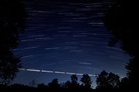Star Trails Looking South. Composite of 250 images taken with a Nikon D850 camera and 19 mm f/4 PC-E lens (ISO 800, 19 mm, f/4, 8 sec). Raw images processed with Capture One Pro and the composite generated with Photoshop CC (Statistics, Maximum). [1501-1750]