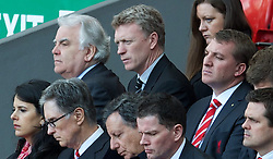 15.04.2013, Anfield Road, Liverpool, ENG, PL, Liverpool FC, 24. Jahrestag der Hillsborough Katastrophe, im Bild Everton owner Bill Kenwright, manager David Moyes and Liverpool's manager Brendan Rodgers during the 24th Anniversary Hillsborough Service at Anfield, Liverpool, United Kingdom on 2013/04/15. EXPA Pictures © 2013, PhotoCredit: EXPA/ Propagandaphoto/ David Rawcliffe..***** ATTENTION - OUT OF ENG, GBR, UK *****