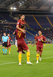 October 2, 2018 - Rome, Italy - Edin Dzeko celebrates after scoring goal 1-0 during the UEFA Champions League match group G between AS Roma and Viktoria Plzen at the Olympic stadium on october 02, 2018 in Rome, Italy. (Credit Image: © Silvia Lore/NurPhoto/ZUMA Press)