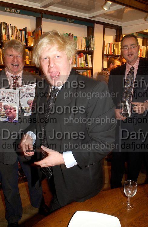 Boris Johnson,  Book party for 'The Dream of Rome' by Boris Johnson. Daunts bookshop. Marylebone High St. London.  1 February 2006. -DO NOT ARCHIVE-© Copyright Photograph by Dafydd Jones 66 Stockwell Park Rd. London SW9 0DA Tel 020 7733 0108 www.dafjones.com