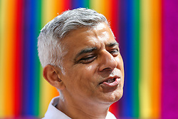 © Licensed to London News Pictures. 06/07/2019. London, UK. Mayor of London Sadiq Khan at the Pride in London Parade. An estimated over 1 million people lined along the route in support of the LGBT (Lesbian, Gay, Bisexual and Transgender/Transsexual) community. Photo credit: Dinendra Haria/LNP