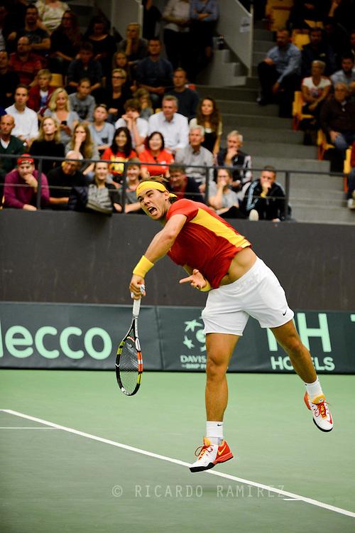 18.09.2015. Odense, Denmark. <br /> Rafael Nadal of Spain serves against Mikael  Torpegaard of Denmark during their Davis Cup match.<br /> Photo: © Ricardo Ramirez.
