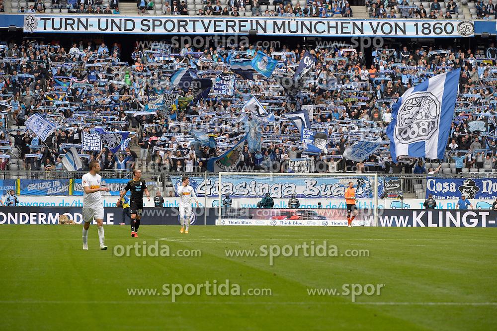 18.04.2015, Allianz Arena, M&uuml;nchen, GER, 2. FBL, TSV 1860 M&uuml;nchen vs VfL Bochum, 29. Runde, im Bild Fans des TSV 1860 Muenchen, jubeln, // during the 2nd German Bundesliga 29th round match between TSV 1860 M&uuml;nchen vs VfL Bochum at the Allianz Arena in M&uuml;nchen, Germany on 2015/04/18. EXPA Pictures &copy; 2015, PhotoCredit: EXPA/ Eibner-Pressefoto/ Buthmann<br /> <br /> *****ATTENTION - OUT of GER*****