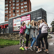 A group of russian speaking teen agers posing in Narva downtown; 97% of the about 60 thousand resident of Narva are russian speaking people