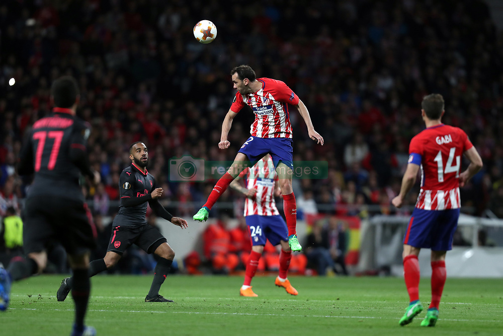 May 3, 2018 - Madrid, Spain - DIEGO GODIN of Atletico de Madrid during the UEFA Europa League, semi final, 2nd leg football match between Atletico de Madrid and Arsenal FC on May 3, 2018 at Metropolitano stadium in Madrid, Spain (Credit Image: © Manuel Blondeau via ZUMA Wire)