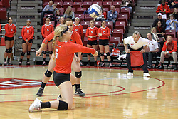 17 October 2015:  Mariah Rayhons(6) kneels on a knee for a dig during an NCAA women's volleyball match between the Southern Illinois Salukis and the Illinois State Redbirds at Redbird Arena in Normal IL (Photo by Alan Look)