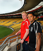 Team captains James Graham and Benji Marshall at Westpac Stadium. Four Nations rugby league - Kiwis v England captain and coaches press conference at Westpac Stadium, Wellington on Thursday, 21 October 2010. Photo: Dave Lintott / photosport.co.nz