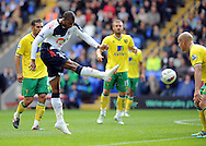 Picture by Chris Donnelly/Focus Images Ltd. 07500 903009 .17/9/11.David NGog of Bolton has a close shot saved during the Barclays Premier League match at Reebok stadium, Bolton.