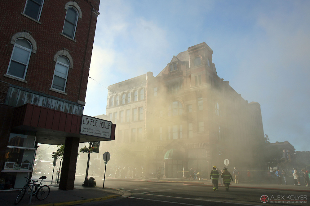 9/13/13--Winona<br /> Smoke engulfs the streets of downtown Winona as firefighters work to extinguish a fire that destroyed three buildings in downtown Winona, Minn., Friday morning, Sept. 13, 2013. (Photo for MPR News by Alex Kolyer)