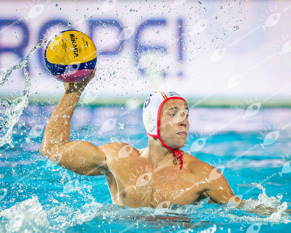 8 ESPANOL A. SPA<br /> Spain (White) Vs Hungary (Blue)<br /> LEN European Water Polo Championships 2014<br /> Alfred Hajos -Tamas Szechy Swimming Complex<br /> Margitsziget - Margaret Island<br /> Day01 - July 14 <br /> Photo Giorgio Scala/Inside/Deepbluemedia