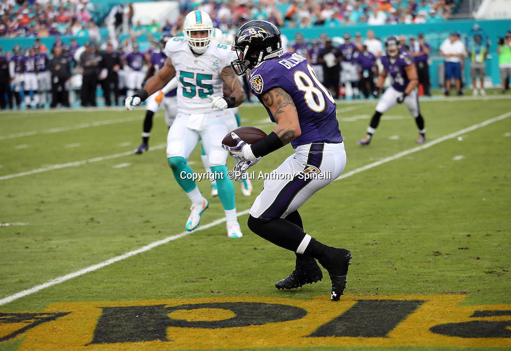 Baltimore Ravens tight end Crockett Gillmore (80) runs with the ball after catching a pass for a first quarter first down during the 2015 week 13 regular season NFL football game against the Miami Dolphins on Sunday, Dec. 6, 2015 in Miami Gardens, Fla. The Dolphins won the game 15-13. (©Paul Anthony Spinelli)