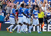 QPR celebrate Clint Hill's headed opener during the Sky Bet Championship match between Queens Park Rangers and Cardiff City at the Loftus Road Stadium, London, England on 15 August 2015. Photo by Andy Walter.