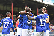 Oldham Athletic celebrate goal scored by Oldham Athletic midfielder Jose Baxter (8) to go 0-3  during the EFL Sky Bet League 2 match between Grimsby Town FC and Oldham Athletic at Blundell Park, Grimsby, United Kingdom on 15 September 2018.