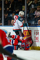 KELOWNA, CANADA - FEBRUARY 6:  Lassi Thomson #2 of the Kelowna Rockets checks a player of the Spokane Chiefs to the ice during first period on February 6, 2019 at Prospera Place in Kelowna, British Columbia, Canada.  (Photo by Marissa Baecker/Shoot the Breeze)