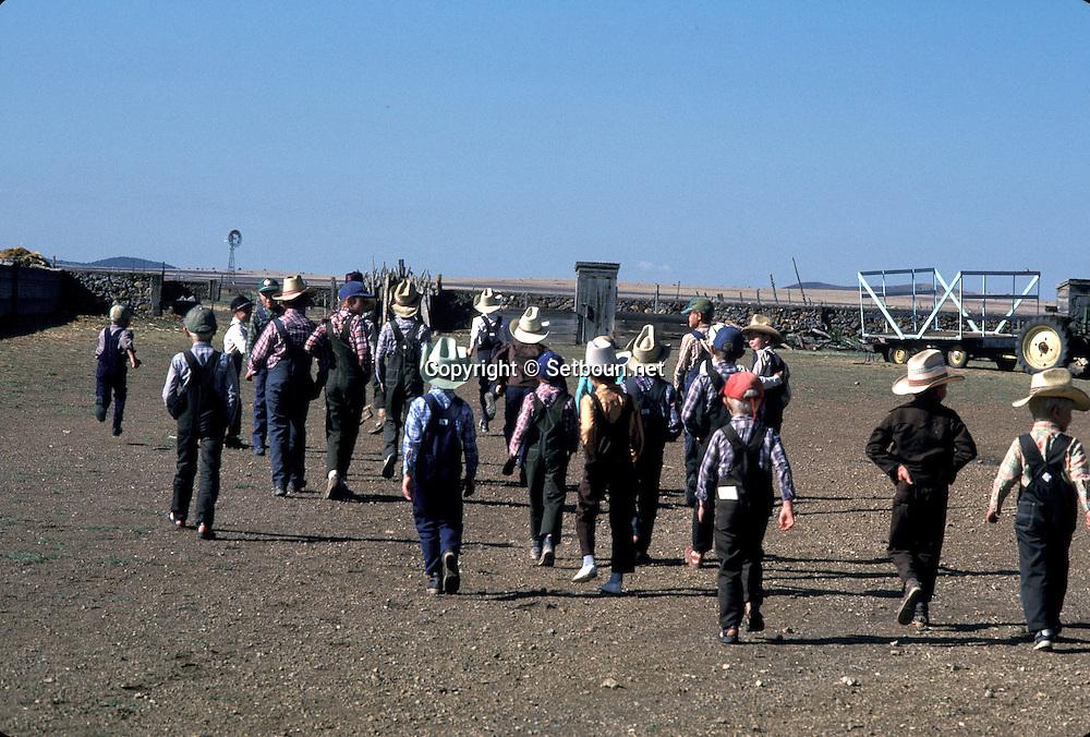 = Mexican menonites Children at school.  Ciudad Ghautemoc  Mexico    +