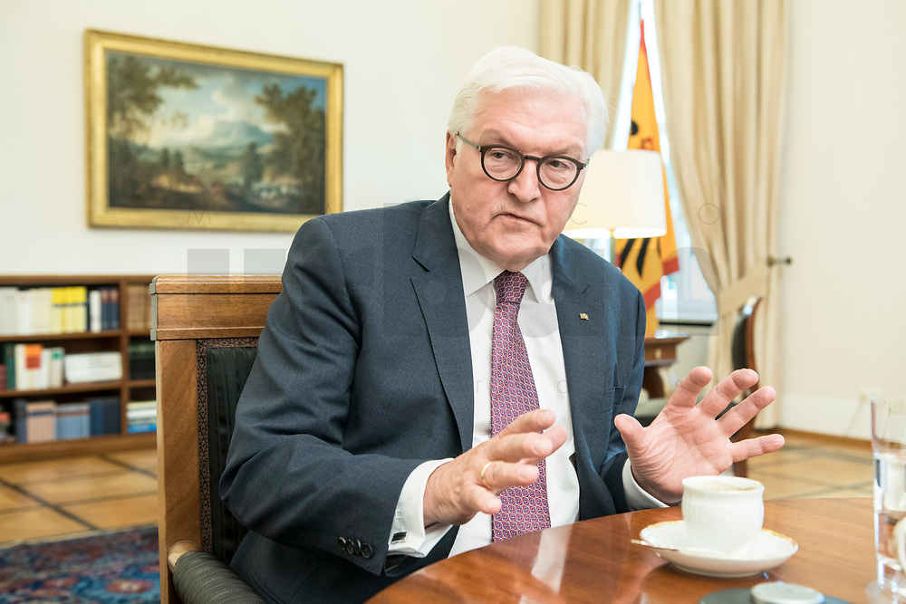 02 JUL 2018, BERLIN/GERMANY:<br /> Frank-Walter Steinmeier, Bundespraesident, waehrend einem Interview, Amtszimmer des Bundespraesidenten, Schloss Bellevue<br /> IMAGE: 20180702-01-024<br /> KEYWORDS: Bundespräsident