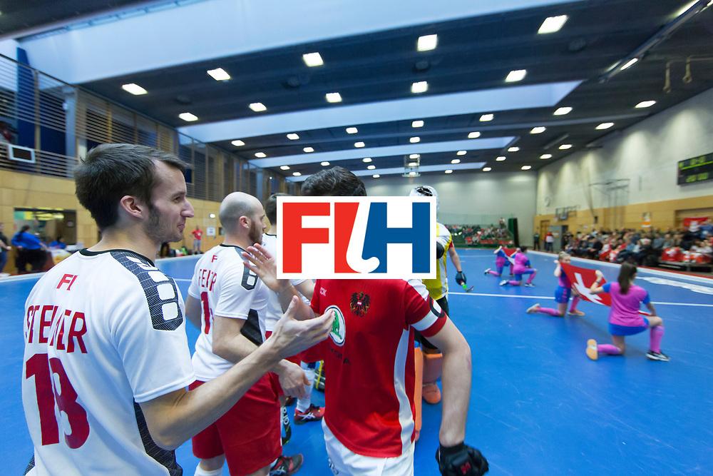 Hockey, Seizoen 2017-2018, 09-02-2018, Berlijn,  Max-Schmelling Halle, WK Zaalhockey 2018 MEN, Austria - Switzerland 2-2, Silvan Steimer (Sui) and Xaver Hasun (AUT)
