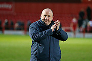 John Coleman Manager of Accrington applauds the fans at full time during the EFL Sky Bet League 1 match between Accrington Stanley and AFC Wimbledon at the Fraser Eagle Stadium, Accrington, England on 1 February 2020.